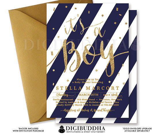 Etsy で見つけた素敵な商品はここからチェック: https://www.etsy.com/jp/listing/240238760/boy-baby-shower-invitation-navy-gold