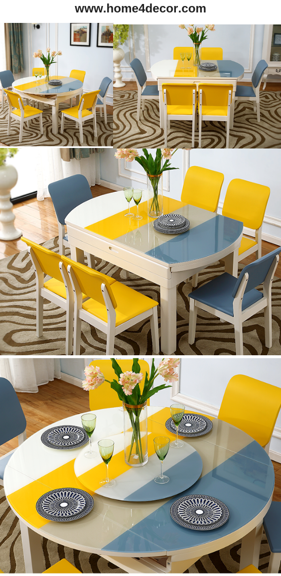 Multi Coloured Dining Table And Chairs Yellow Blue White Mixed