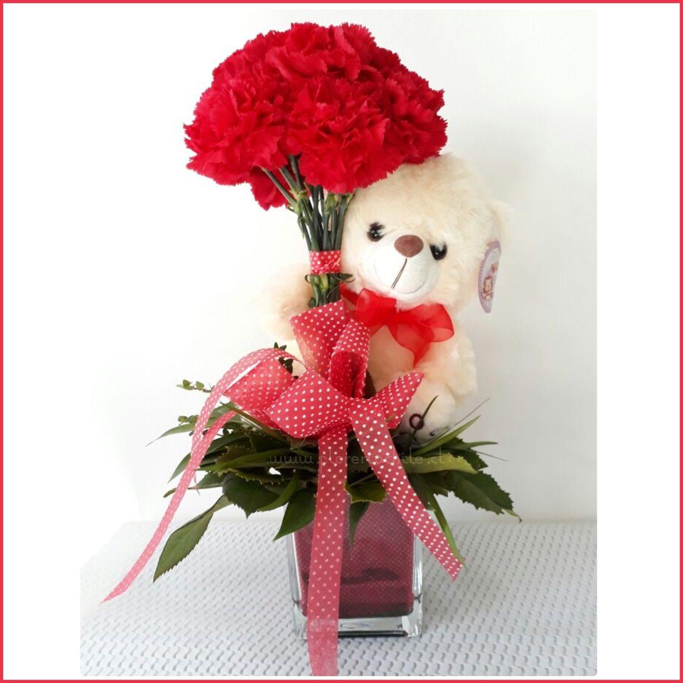 Hermoso Arreglo Floral Con 10 Claveles Rojos Acompañado De