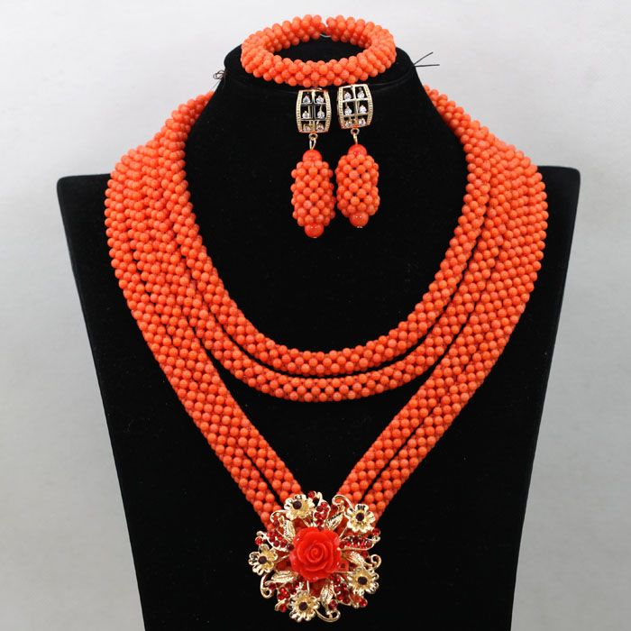 44573c523a Big Full Nigerian Wedding Beads Statement Necklace for Women Bridal ...