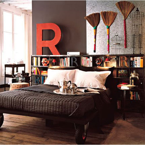 love the rich colors and bookshelves as alt. headboard.