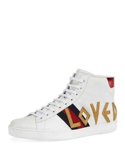 78c74cb7e3 GUCCI NEW ACE LOVED HIGH-TOP SNEAKER.  gucci  shoes
