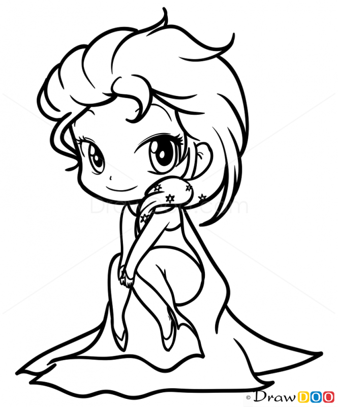 How to draw elsa frozen chibi legends of the guardians how to draw elsa frozen chibi voltagebd Image collections