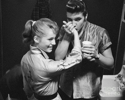 1956 ELVIS PRESLEY Dayton Ohio PHOTO Backstage with Cute Fan