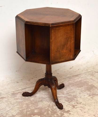 Small Antique Inlaid Walnut Revolving Book Stand Table | Church Street  Antiques   Antique Furniture