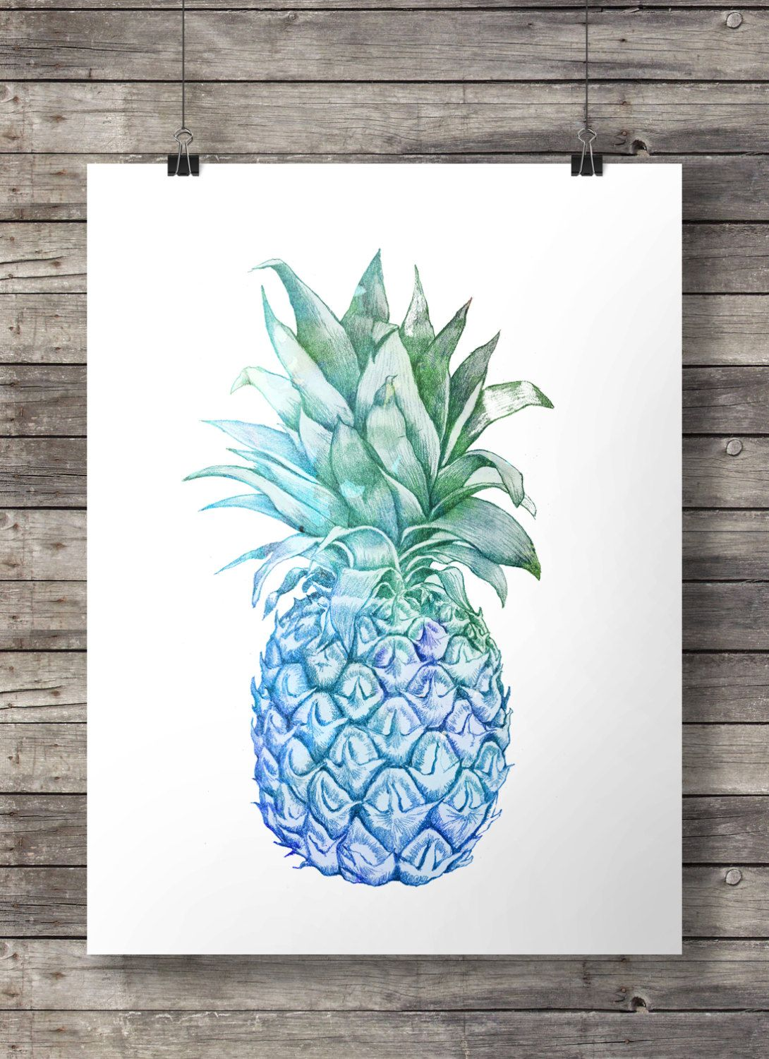 Pineapple printable art blue watercolor tropical hawaii - Ananas dessin ...