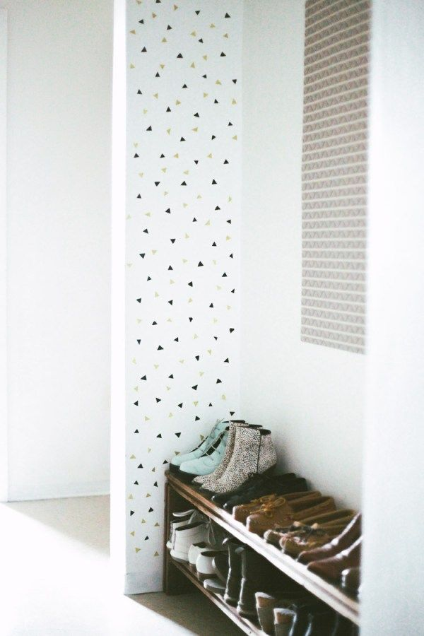 Washi Tape Wall Decor Ideas - Triangle Confetti Wall from Treasures and Travels Blog