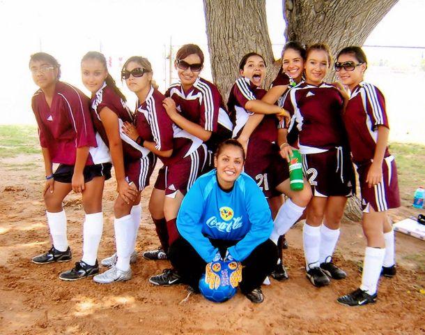 Soccer girls of Lydia Patterson High School El Paso Texas, posing in Cielo Vista.  Photo by Ruben Reyes, via Flickr