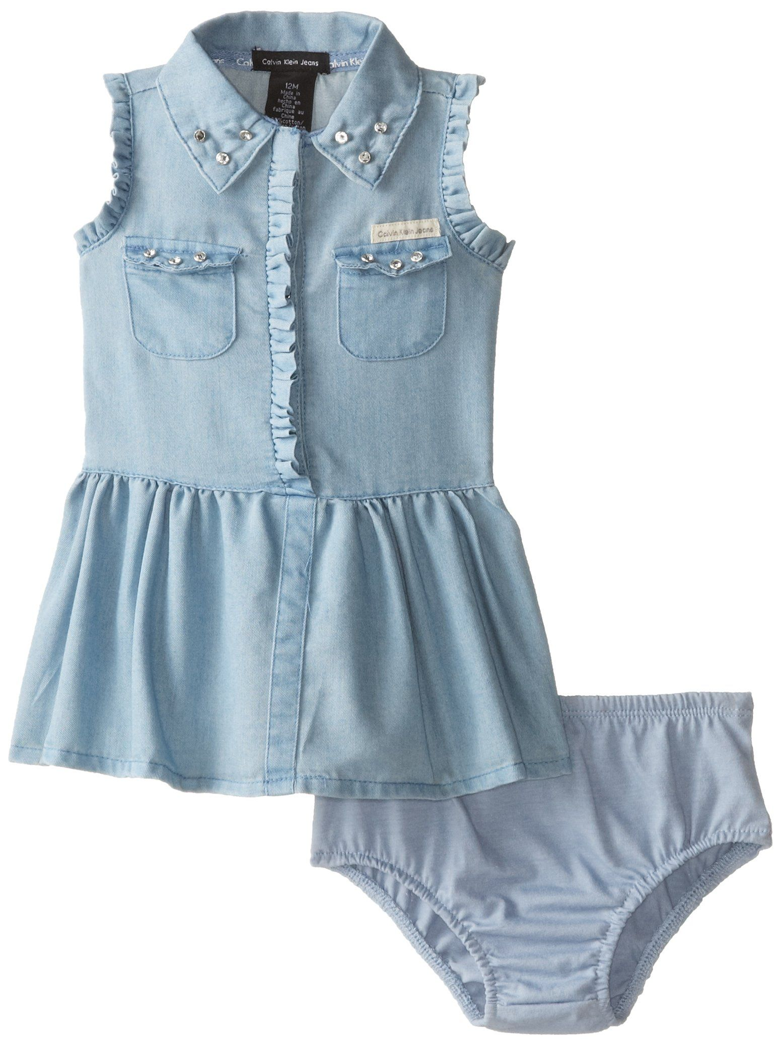 Calvin Klein Baby Girls Denim Dress with Pockets Chest Blue 12