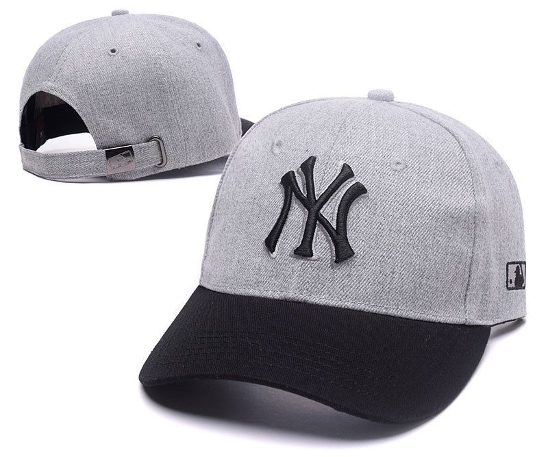 f74b4232fc576 Men s   Women s New York Yankees NY 3D Embroidery Team Logo Adjustable  Baseball Dad Hat - Grey   Black