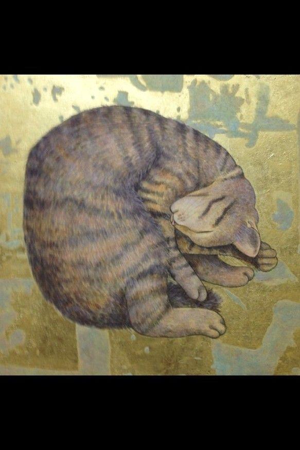 3号日本画です。猫の作るまるの完璧なフォルムは美しいです。 ハンドメイド、手作り、手仕事品の通販・販売・購入ならCreema。