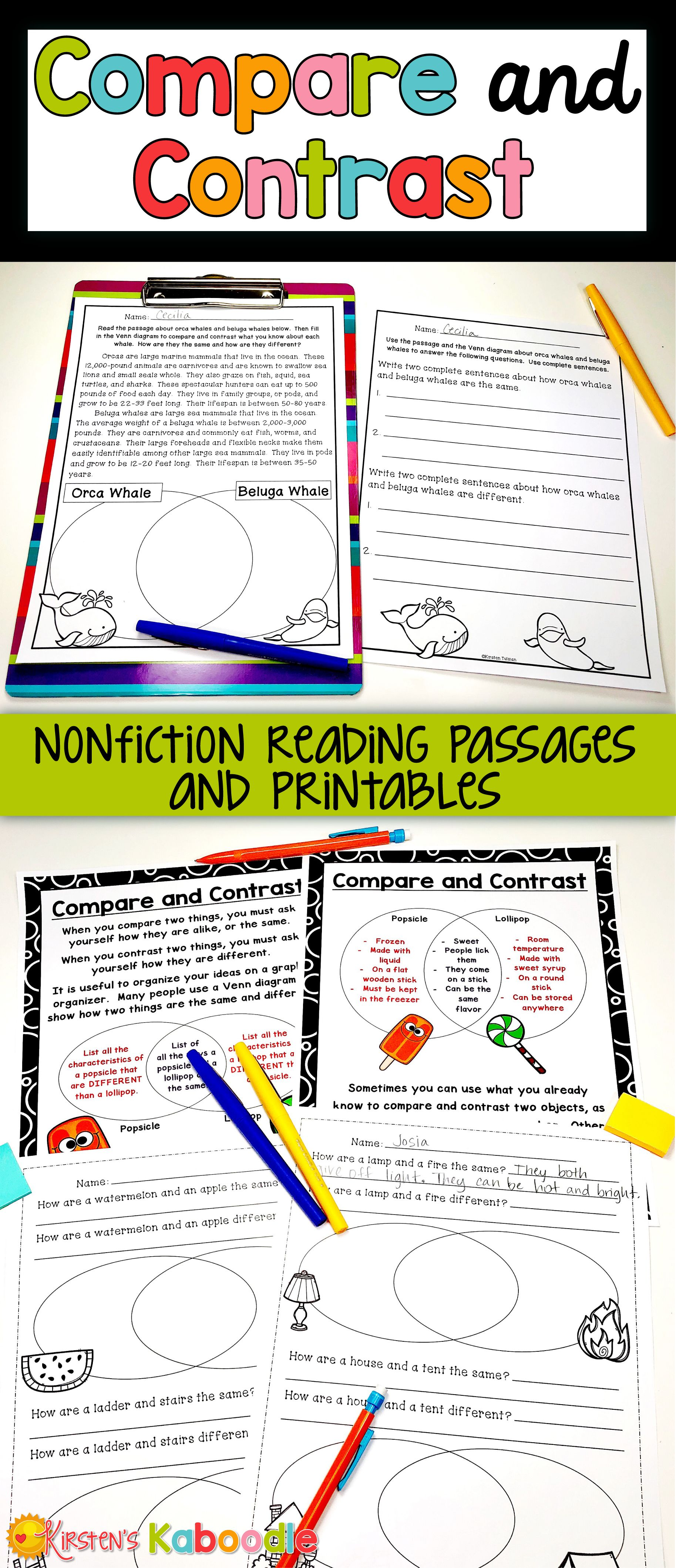 Compare And Contrast Passages Graphic Organizers W Digital Google Option Compare And Contrast Nonfiction Reading Passages Reading Passages [ 4241 x 1827 Pixel ]