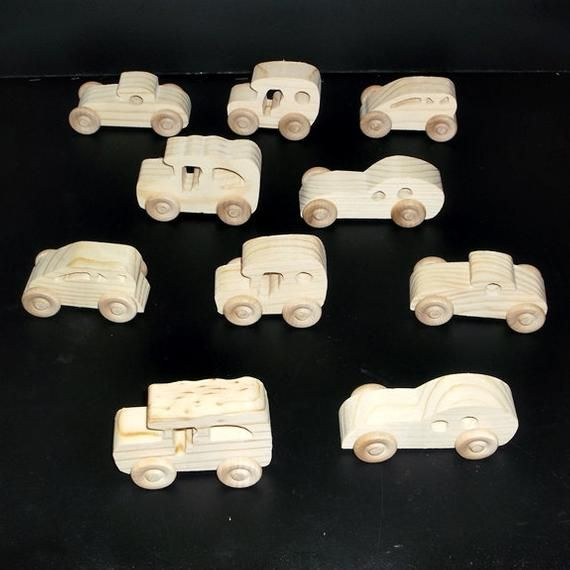 10 Handcrafted Wood Toy Cars OT-5 Unfinished Or Finished