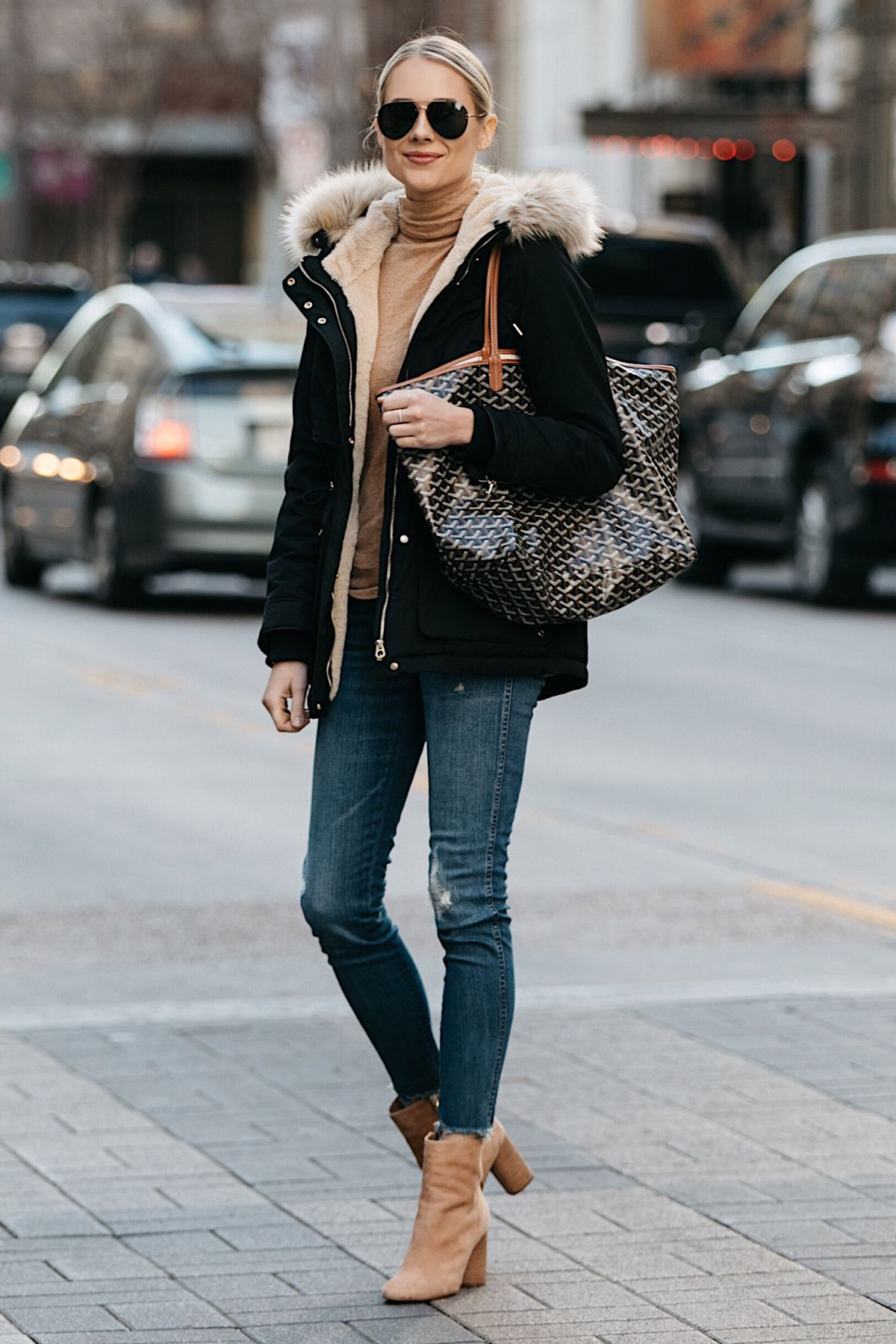 722f4e107cf531 Blonde Woman Wearing Zara Faux Fur Trimmed Black Parka Jacket Denim Jeans  Tan Turtleneck Sam Edelman Corra Booties Goyard Tote Fashion Jackson Dallas  ...