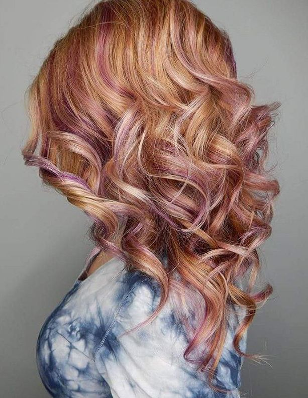 Pastel Pink Highlights For Strawberry Blonde Hair Pink