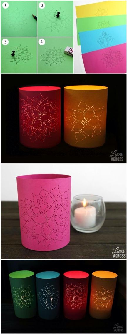 Candle covers/luminaries (design, push pin, pencil, glue & card stock)