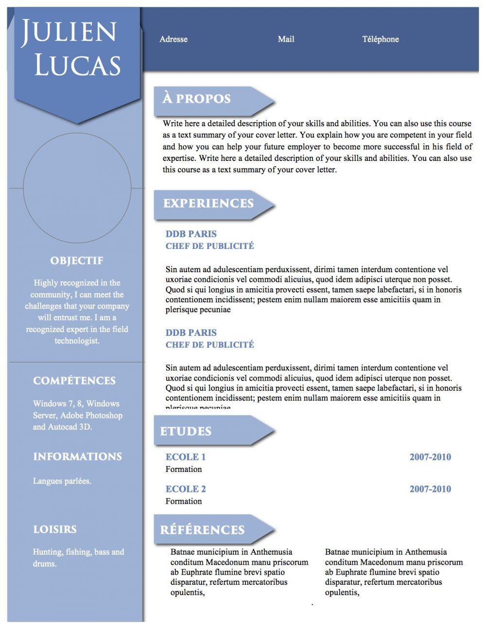 Modèle de CV simple et complet pour tous les types de