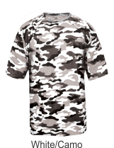 ff2951d9 Youth White / Camo Performance Tee 2181 by Badger Sport at GrahamSG.com
