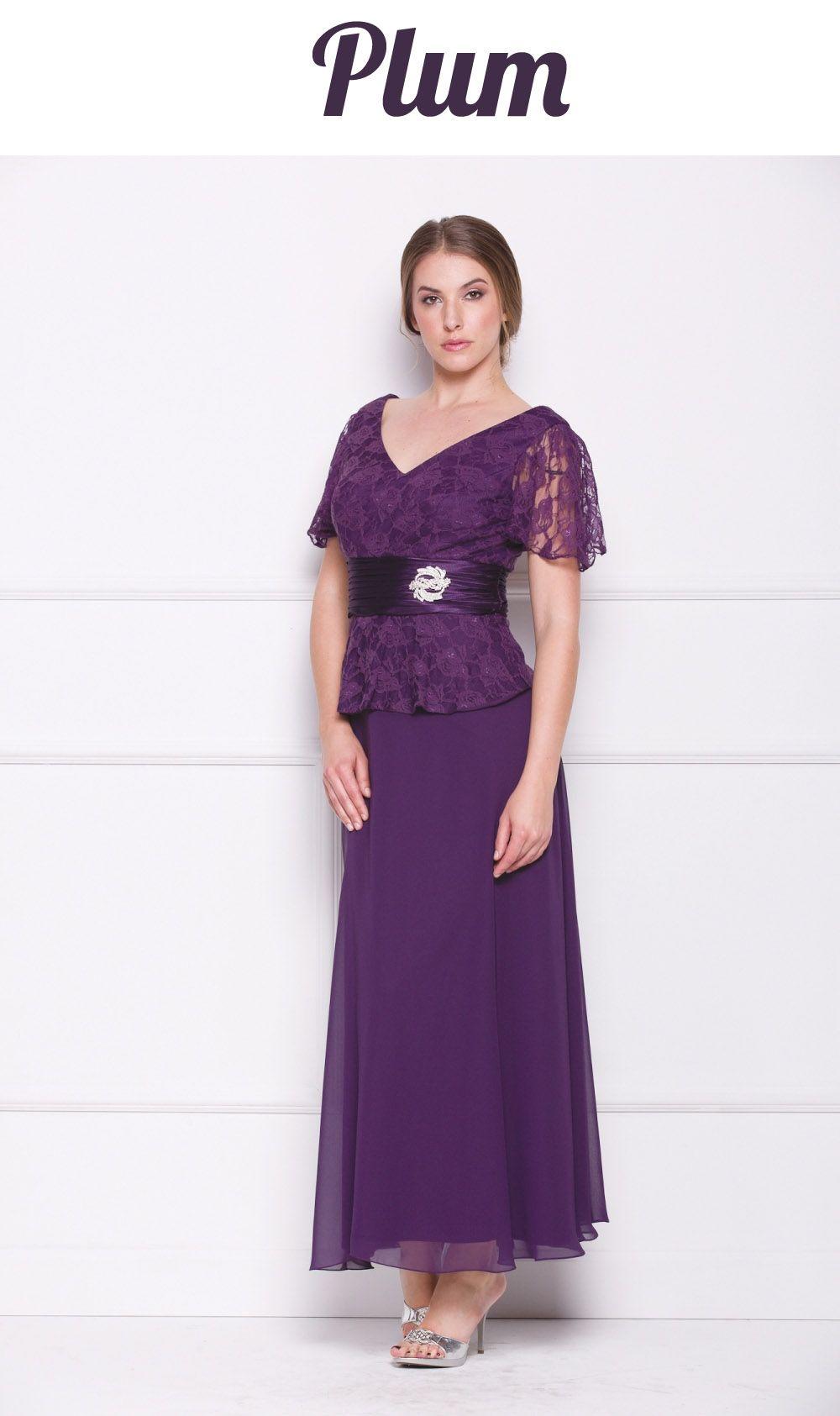 Plus Size Peplum Mother of Groom Dress Brown V Neck Ankle Length
