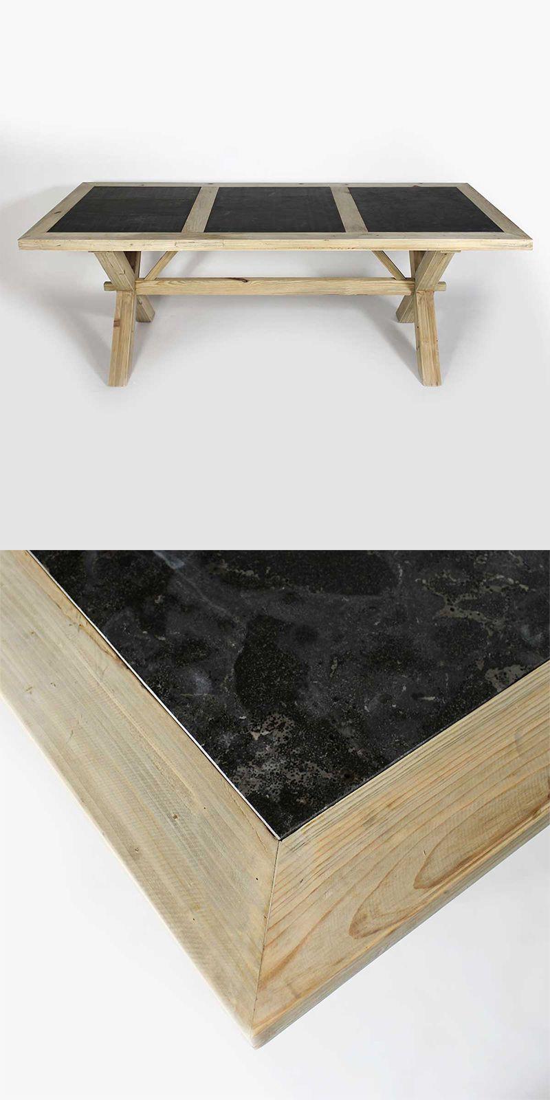 Table En Bois Brut Recycle Avec Plateau En Pierre Naturelle Effet Marbre Sombre Table Bois Brut Table A Manger Bois