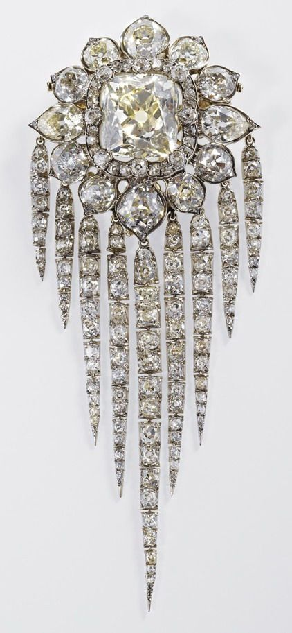 """Queen Victoria Fringe Brooch 1856 ~ worn by HM Queen Elizabeth II at D-Day 70 commemoration on Sword Beach, 06.06.2014 in Ouistreham, France. ~~HM is wearing the QUEEN VICTORIA FRINGE BROOCH, a magnificent, monumental piece reserved for only the most important occasions. """"Repinned by Keva xo""""."""