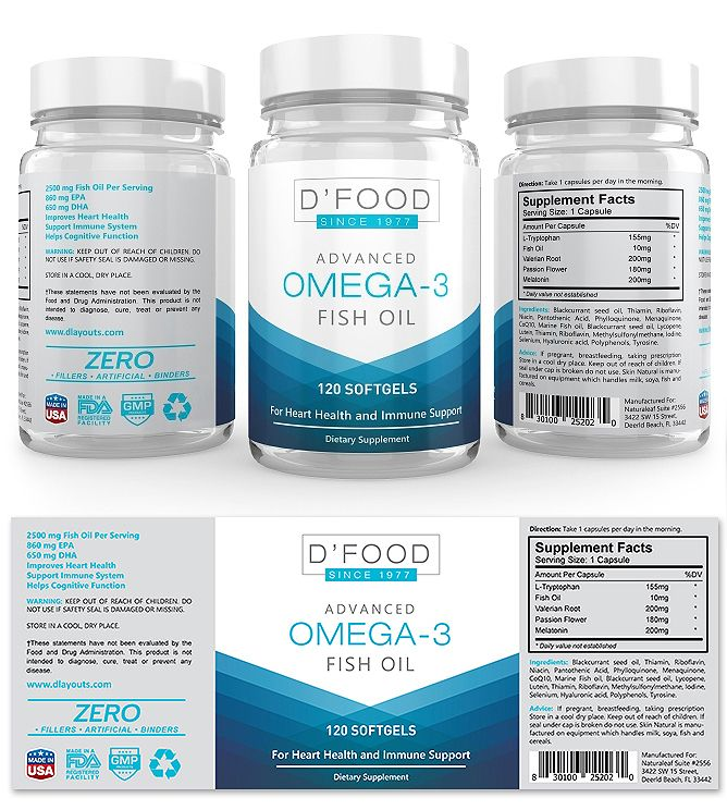 Omega Fish Oil Supplement Label Template  Lumikello Biotics