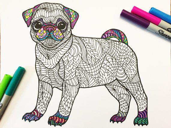 pug puppy pdf zentangle coloring page pug puppies and zentangle