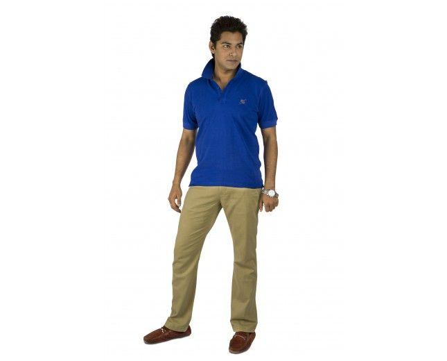 Kanva Polo Neck Blue T-Shirt @499