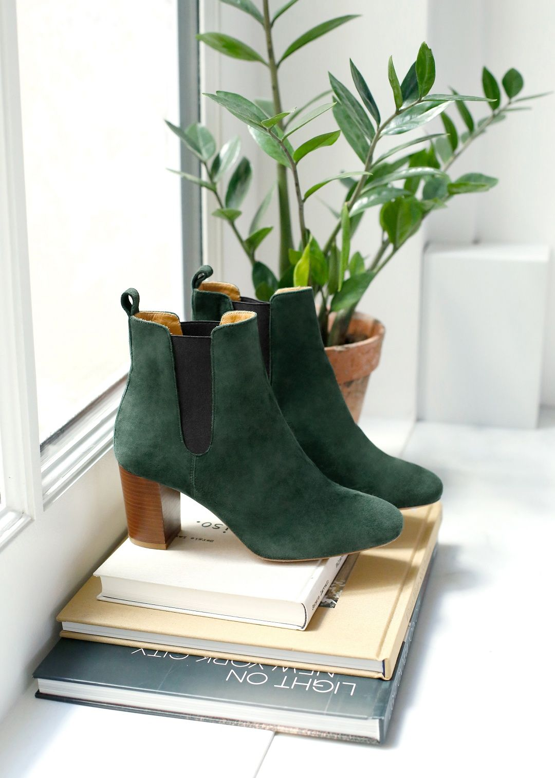 Noe High Heel Women Leather WInter Autumn Ankle Boots Shoes 4 inch Heel Green