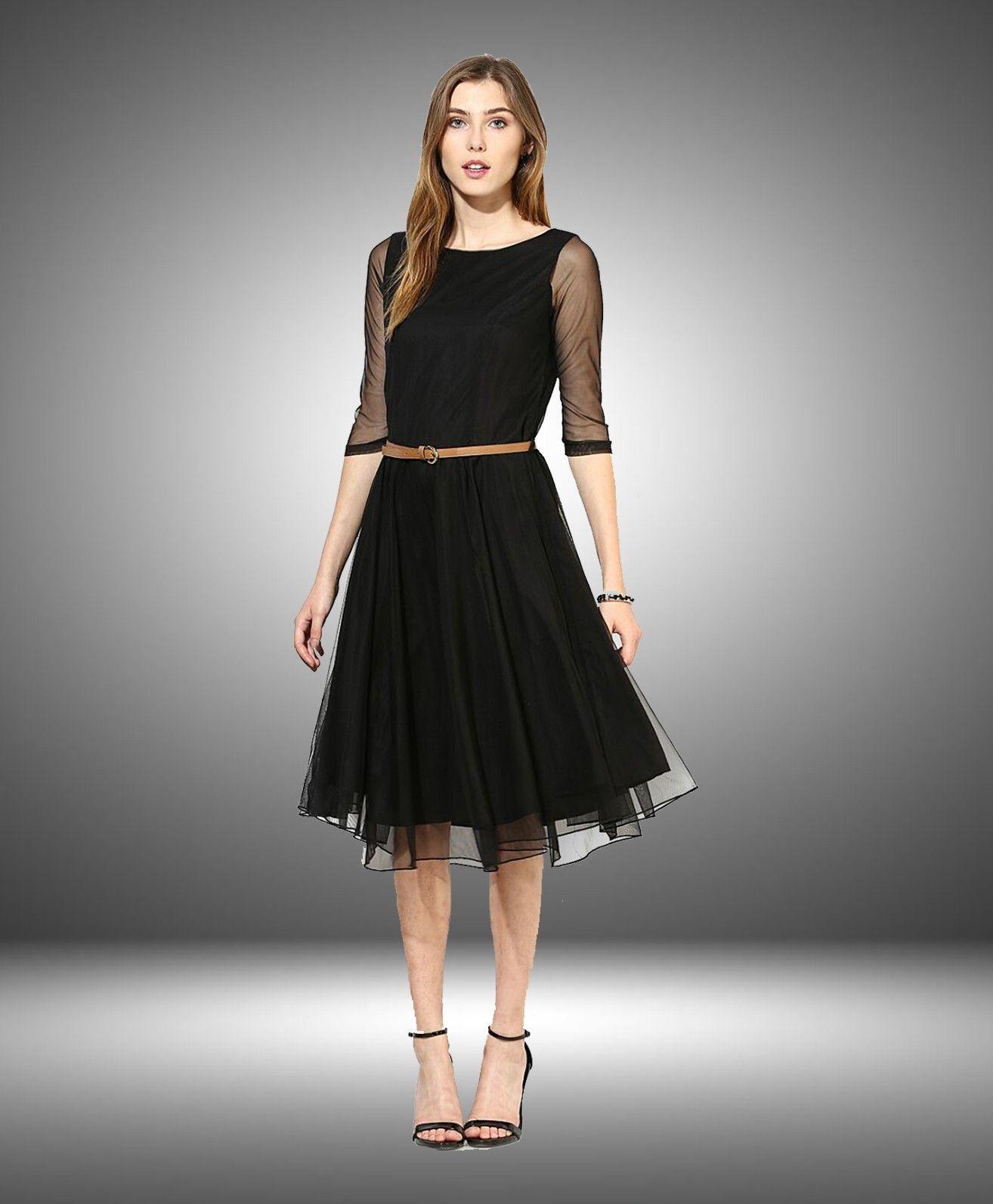 1002f118a791 Beautiful Black Color Plain Skater Dress. | One Piece Dresses ...