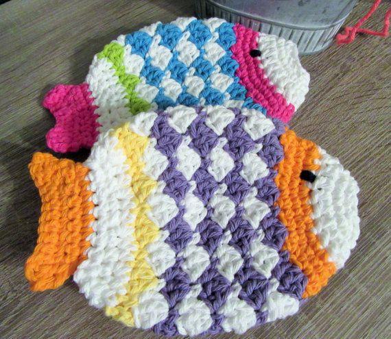 Baby Fish Washcloth Fun Newborn Gift Crochet Baby Childrens Bath