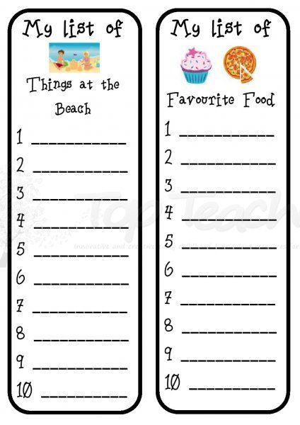 Writing List Template  Top Teacher  Innovative And Creative