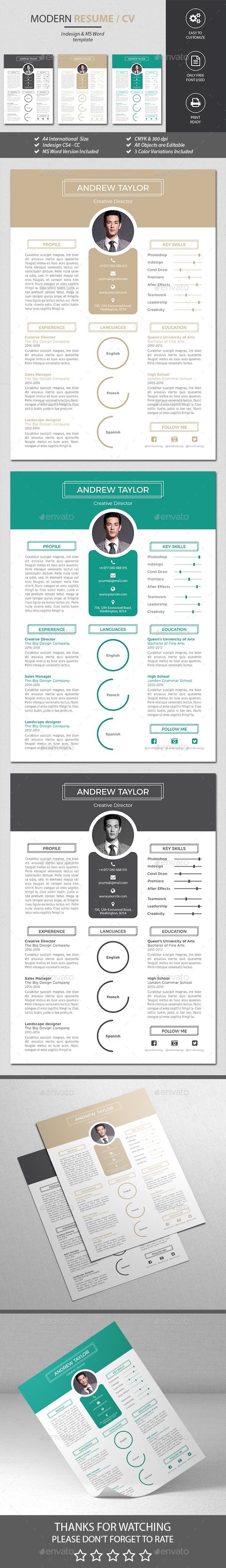 Resume Templates Indesign New Resume Template Indesign Indd Ms Word  Resume Templates .