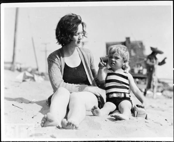 Hollywood film cutter Gladys Baker shares a happy moment with daughter Norma Jeane, 3, in 1929. Later, the mentally unstable Gladys left the girl in a series of foster homes.