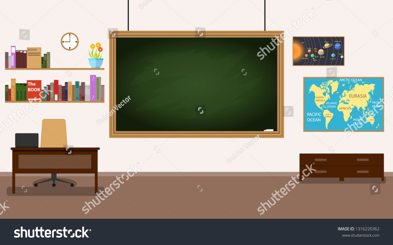 Classroom. Nobody school classroom interior with teachers desk and blackboard. Front Class Backgrou