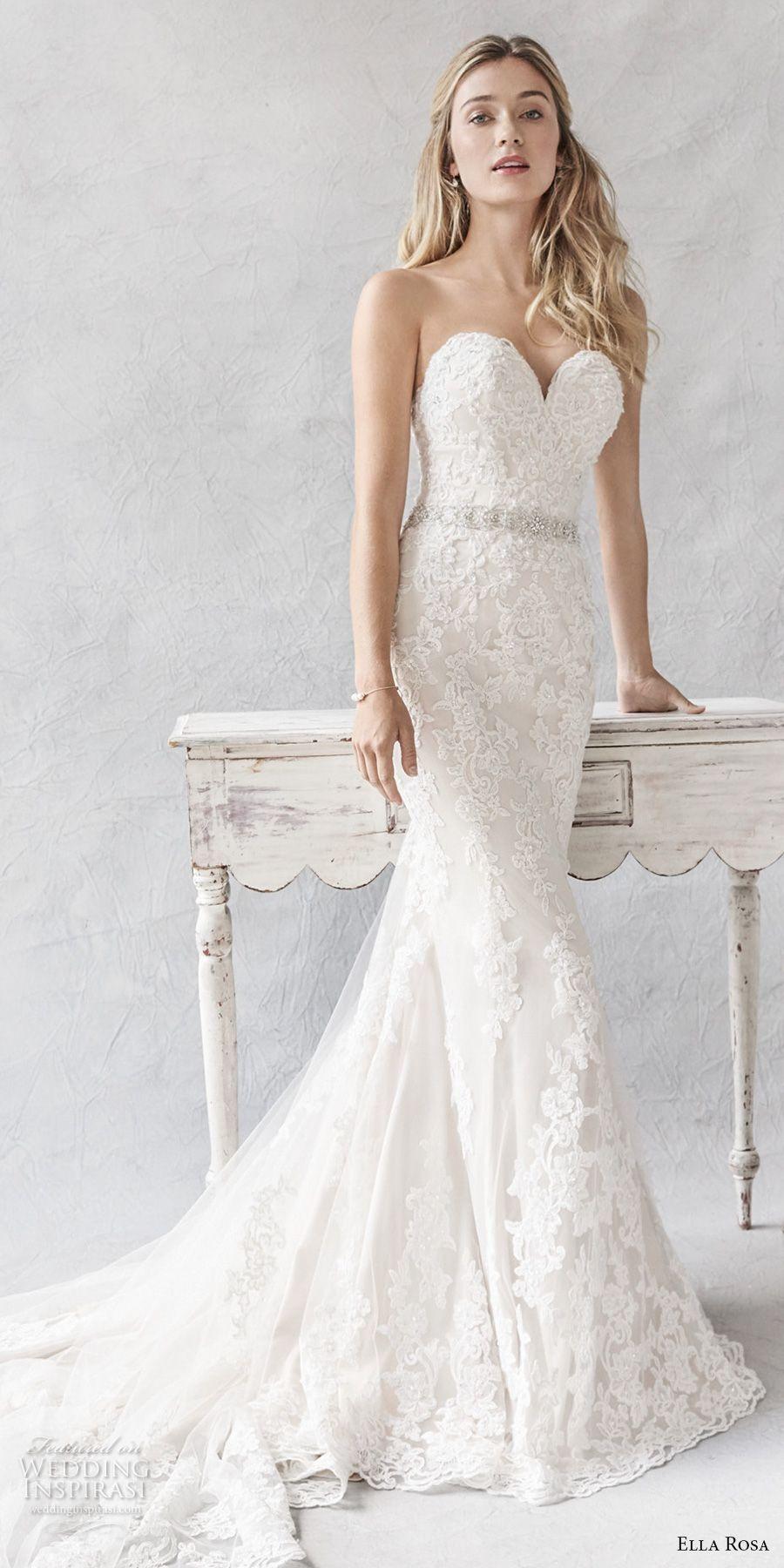 Ella Rosa Spring 2017 Bridal Strapless Sweetheart Neckline Full Embellishment Elegant Sheath Fit Flare Wedding Dress Chapel Train 377 Mv
