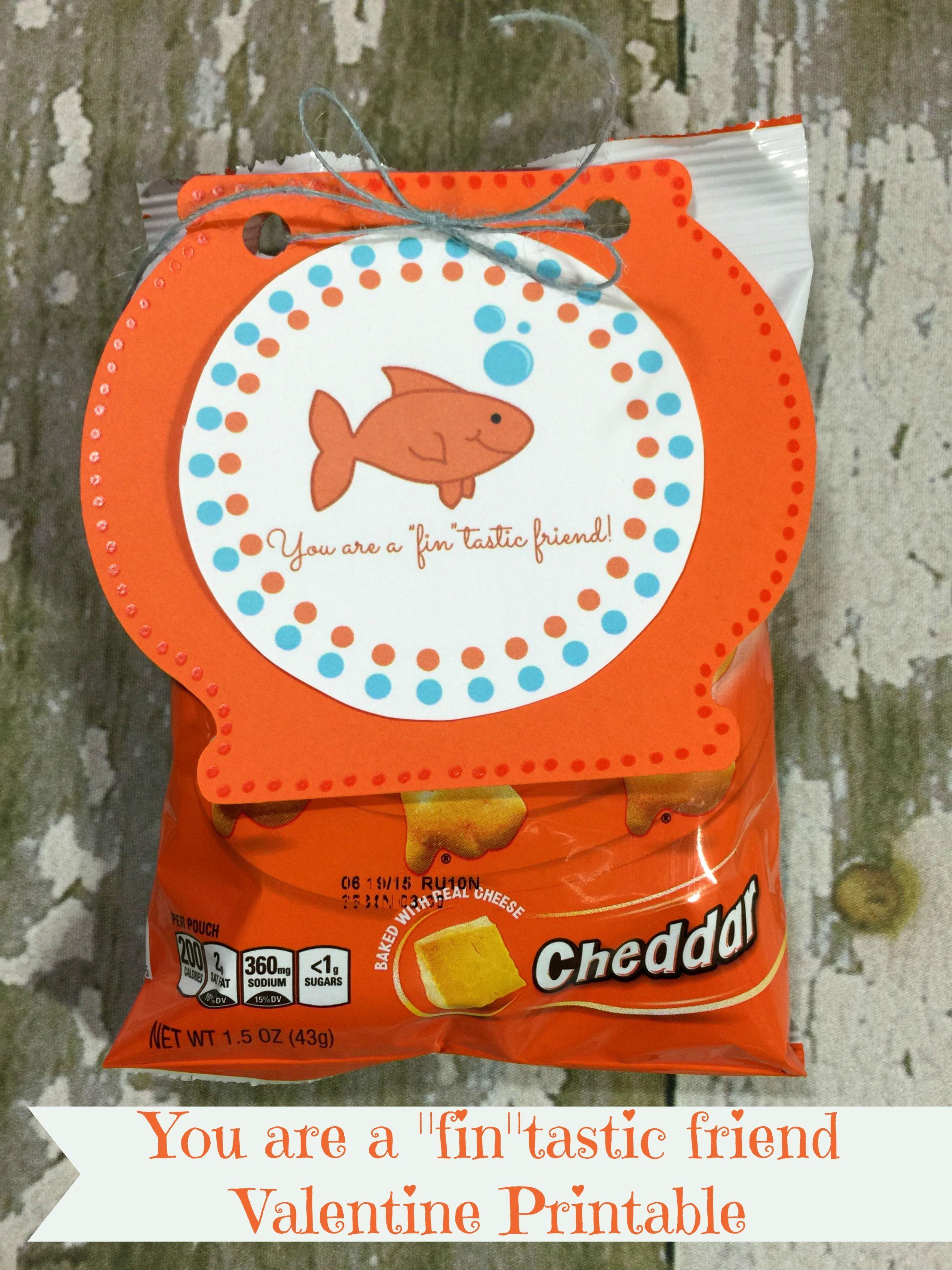 Fintastic Friend Free Printable Goldfish Crackers Valentine S Day Craft Friends Valentines Valentines Printables Valentines Printables Free