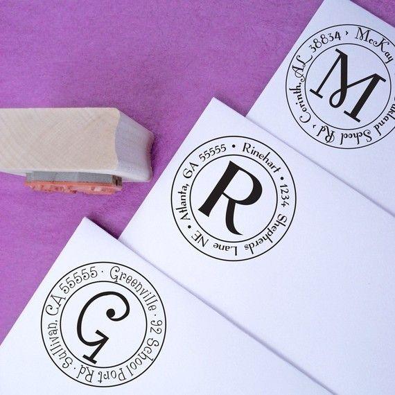 Small Round Customized Rubber Address Stamp by purplelemondesigns, $18.00