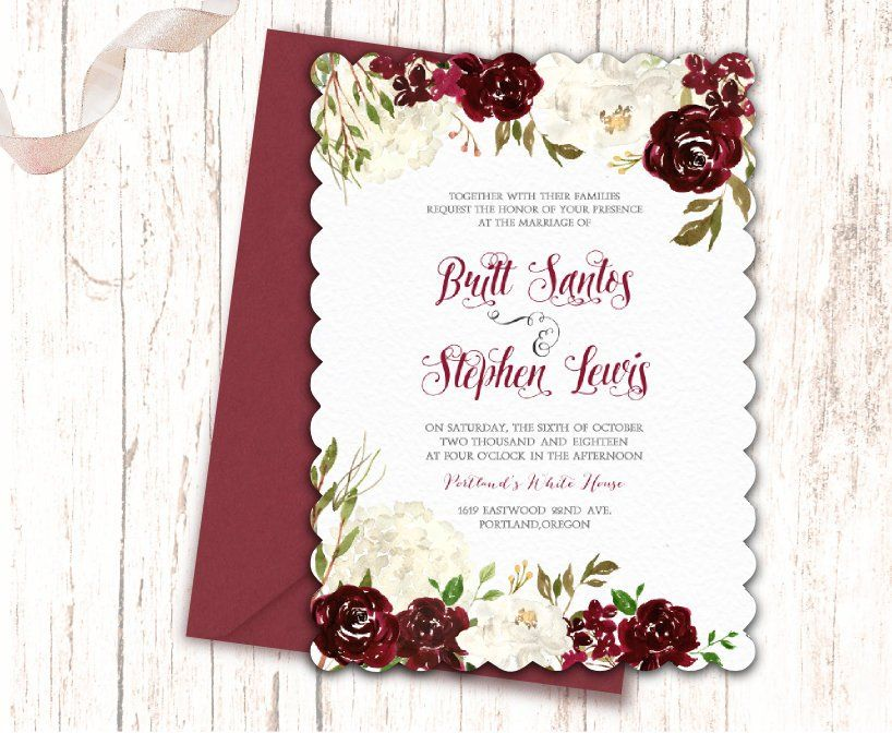 Scallop Wedding Invitation Design Maroon Cream Burgundy White
