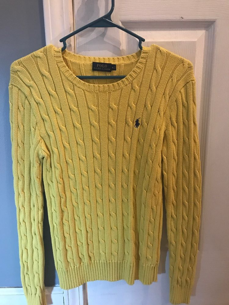 Ralph Lauren Yellow Cable Knit Sweater Size Medium M Long Sleeves Fashion Clothing Shoes Accessories Wome Sweaters Yellow Cable Knit Sweater Sweater Sizes