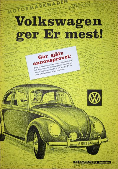 Vintage poster:      VW Volkswagen Beetle 1950s poster  by AB Ervaco