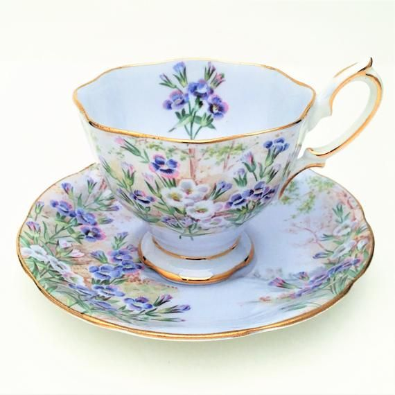 Rare Royal Albert English Bone China Tea Cup and Saucer in 'Fringed Gentian' in Pale Blue, Malvern Shape, ca. 1940's #teacups