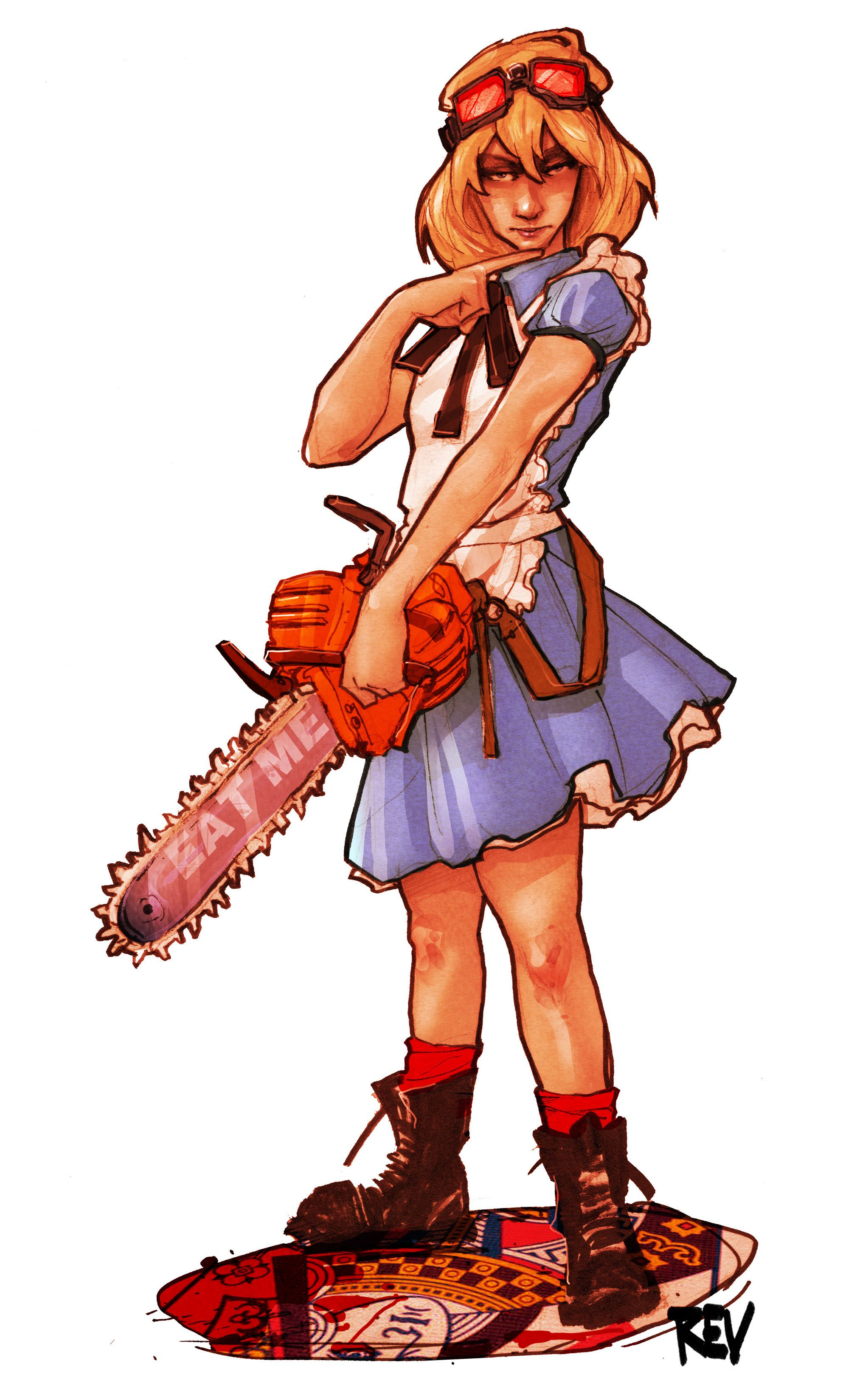 commissioned artwork of chainsaw alice in wonderland by rupert