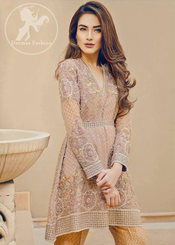 Light Brown Short Frock - Jamawar Bell Bottom Pants in 2019 | Fashion, Short frocks, Pakistani ...