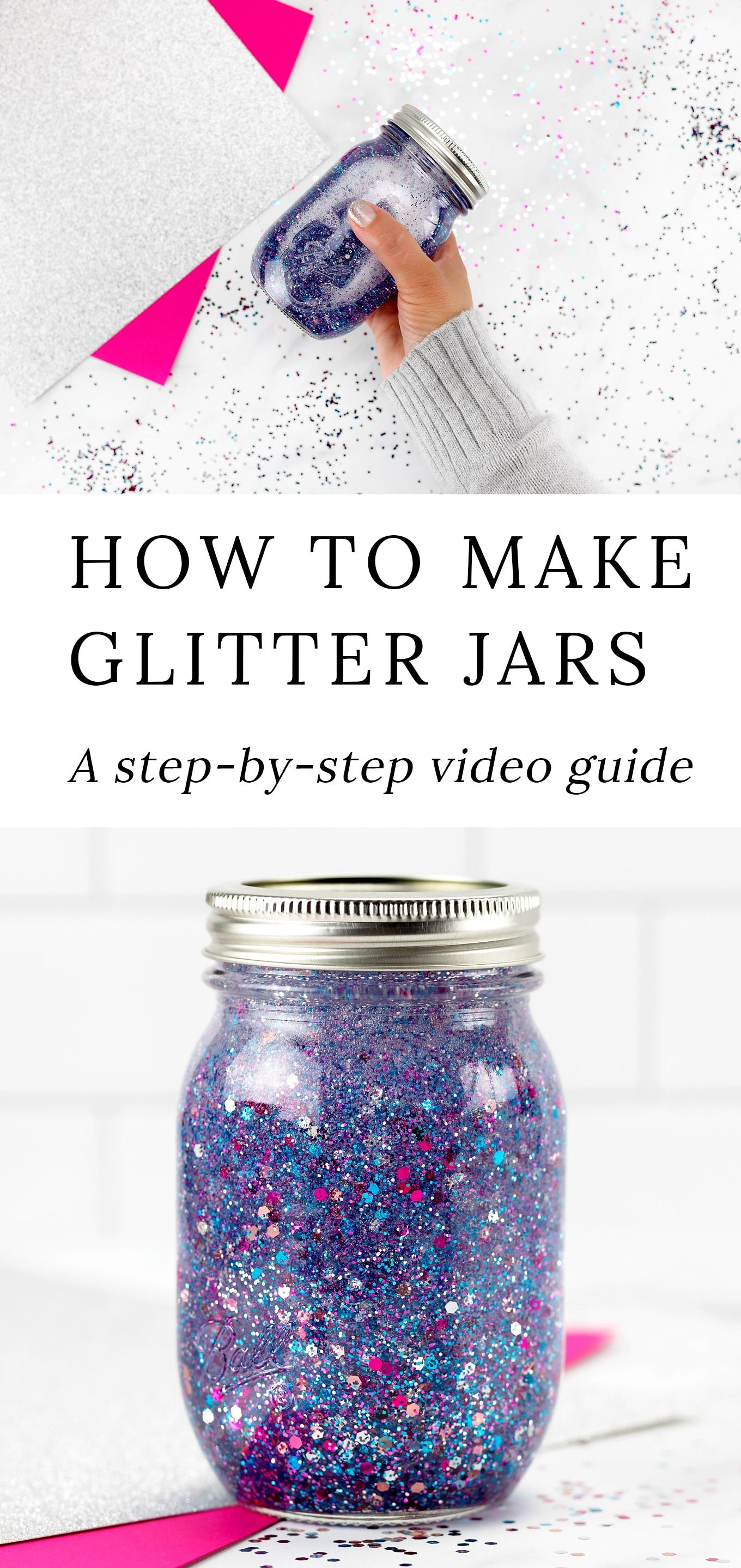 How to Make Glitter Jars is part of Glitter jars diy, Glitter jars, How to make glitter, Jar diy, Diy jar crafts, Homemade glitter - This post is the ultimate onestop resource on how to make a glitter jar; a beautiful, calming and easy DIY mindfulness activity for kids of all ages