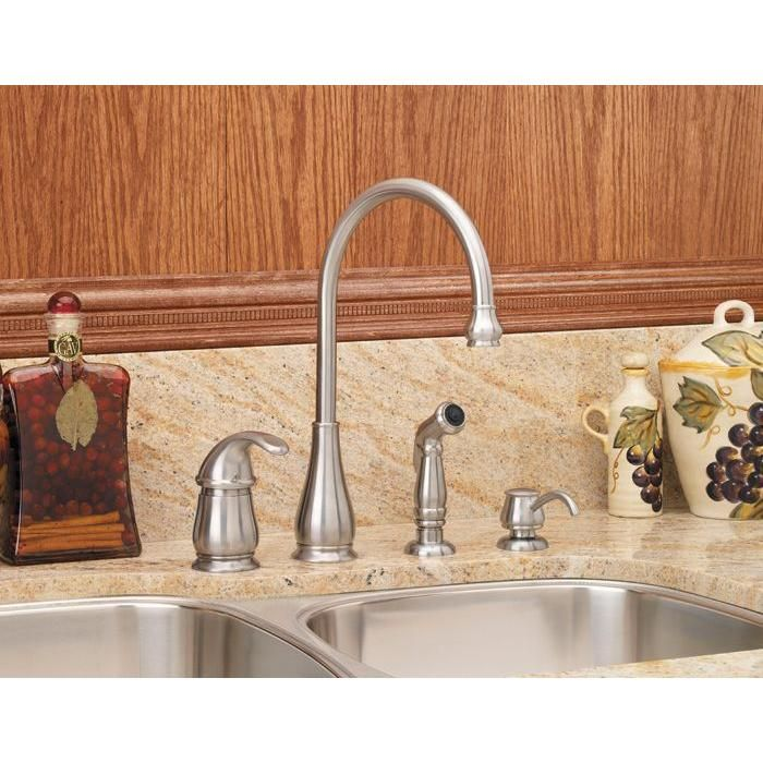 Pfister Treviso Single-Handle Side Sprayer Kitchen Faucet and Soap ...