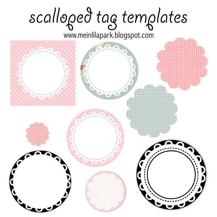 free printable scalloped tag templates - Muschelrand Etiketten ...
