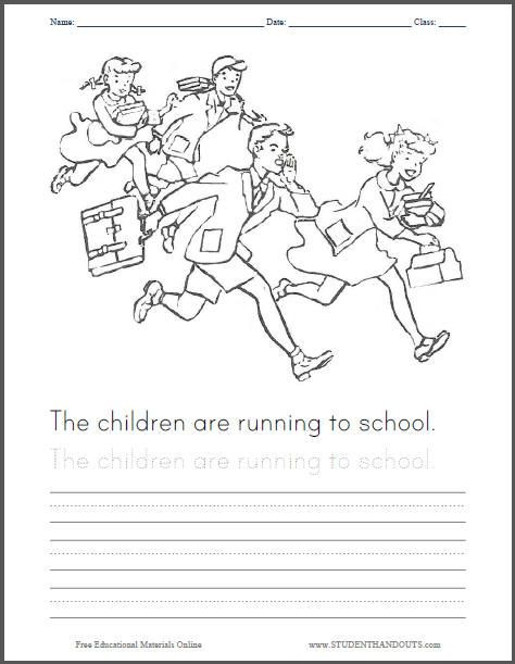 Children Running To School Coloring Page For Kids School Coloring Pages Coloring Pages Children Images