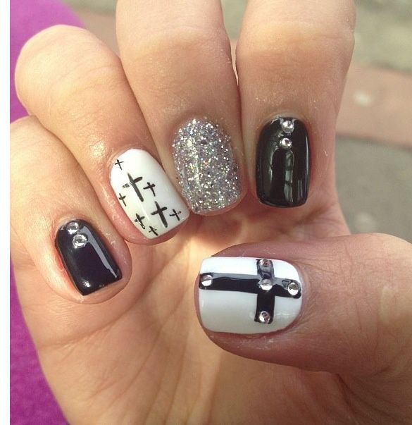 black, white and sliver glitter with jewels and crosses nail art design - Cross Nail Designs ZZ1nVMdy Nails Pinterest Cross Nail Designs