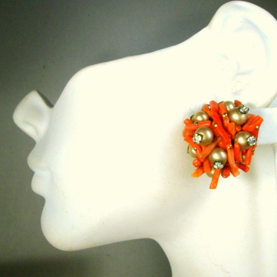 Red Branch CORAL Clip Earrings with Pearls n by VintageStarrBeads